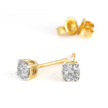 14K YG Diamond Solitaire Earring