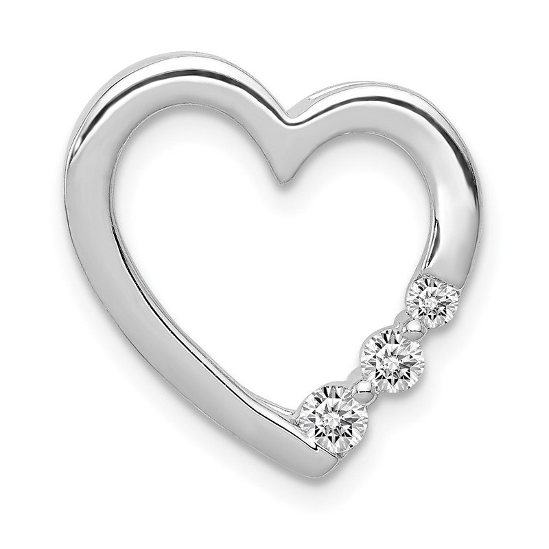Quality Gold 14k White Gold 1/6ct. Diamond Heart Chain Slide