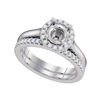 18kt White Gold Womens Round Diamond Semi-Mount Wedding Bridal Ring Set 3/8 Cttw