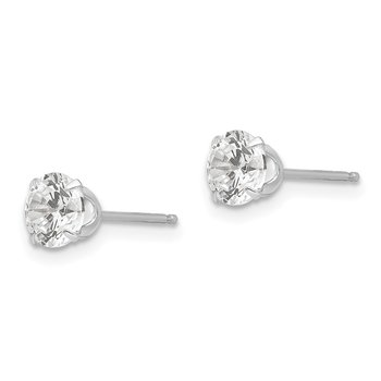 14k White Gold Madi K 5.25mm CZ Post Earrings