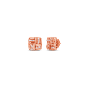 18K WOVEN ROYAL OPERA SQUARE STUD EARRING W. DIAMOND ACCENT