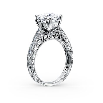 Engraved Princess Diamond Engagement Ring