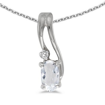 10k White Gold Oval White Topaz And Diamond Wave Pendant