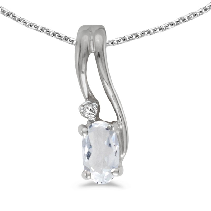 Color Merchants 10k White Gold Oval White Topaz And Diamond Wave Pendant