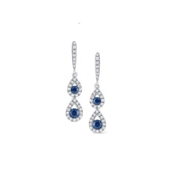 Blue Sapphire & Diamond Double Teardrop Earrings Set in 14 Kt. Gold