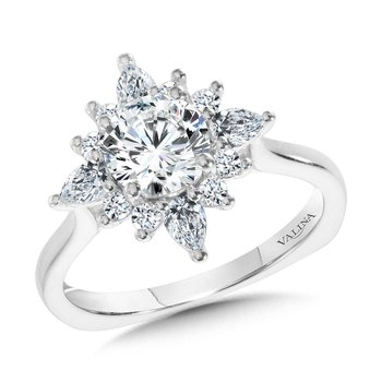 Star Halo Diamond Engagement Ring