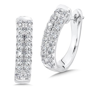 Double Row Prong set Diamond Oval Hoops in 14k White Gold (1.00 ct. tw.)