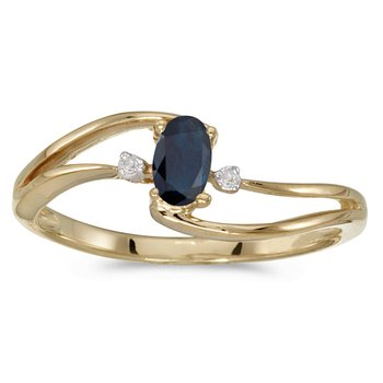 10k Yellow Gold Oval Sapphire And Diamond Wave Ring