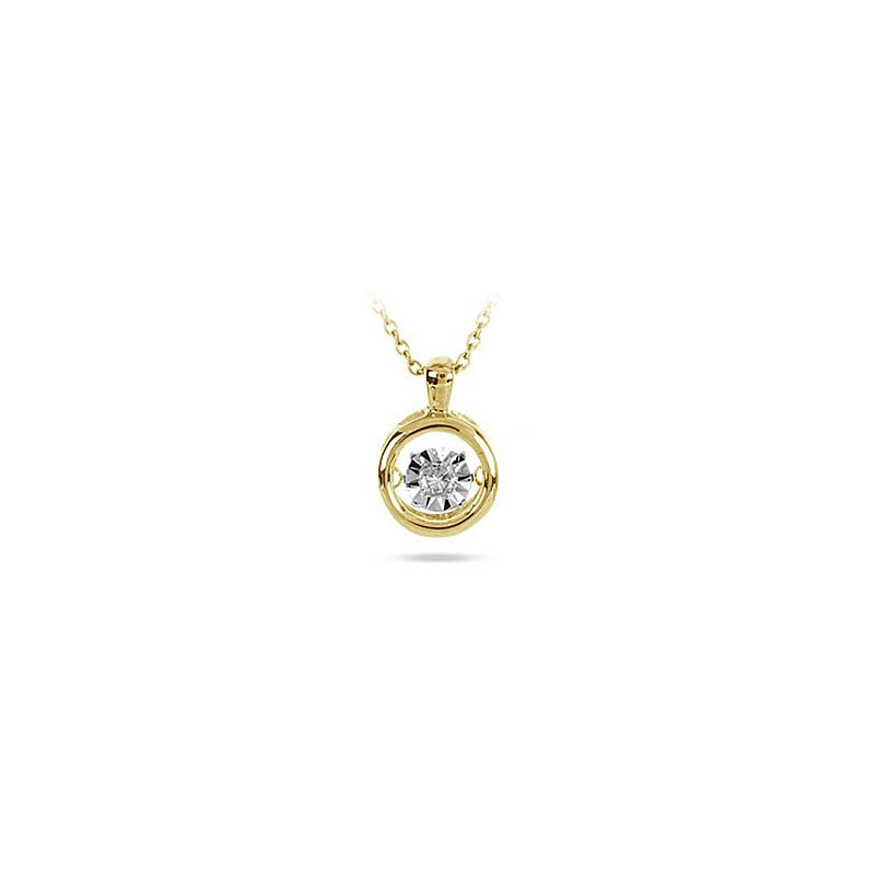 BB Impex 10K YG Diamond Round Solitaire Dancing Diamond Pendant
