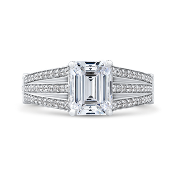 18K White Gold Emerald Diamond Engagement Ring with Split Shank (Semi-Mount)