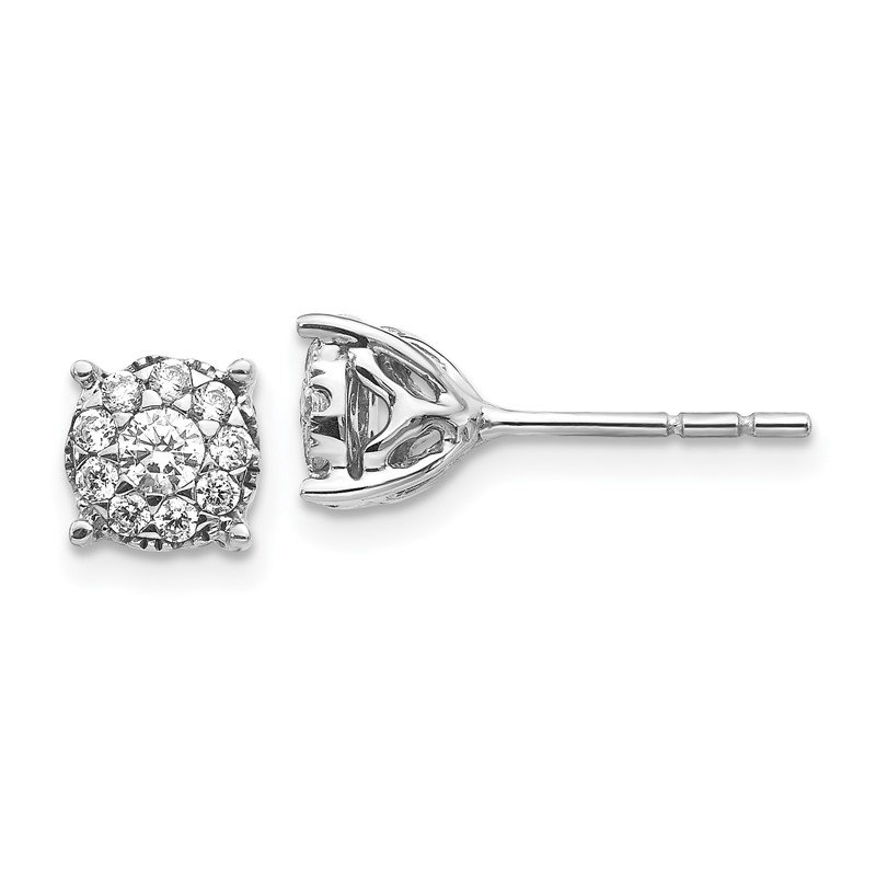 J.F. Kruse Signature Collection 14k White Gold Diamond Cluster Post Earrings