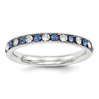 Sterling Silver Rhodium-plated Blue & White CZ Eternity Band