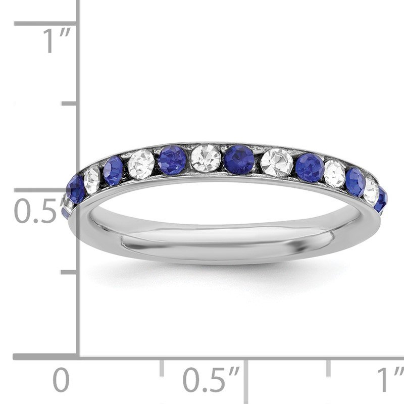 JC Sipe Essentials Sterling Silver Rhodium-plated Blue & White CZ Eternity Band