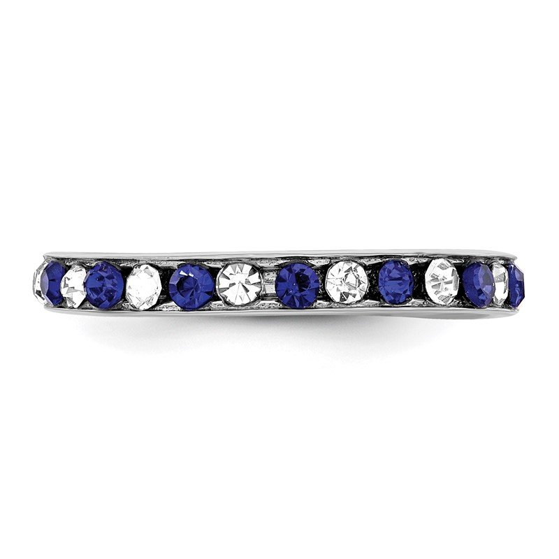 Quality Gold Sterling Silver Rhodium-plated Blue & White CZ Eternity Band