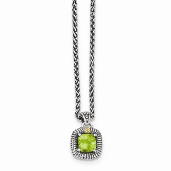 Sterling Silver w/14ky Peridot Necklace