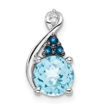 Sterling Silver Rhodium-plate Dia. Swiss & London Blue Topaz Pendant