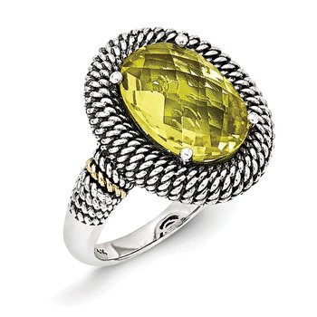 Sterling Silver w/14k Antiqued Lemon Quartz Ring