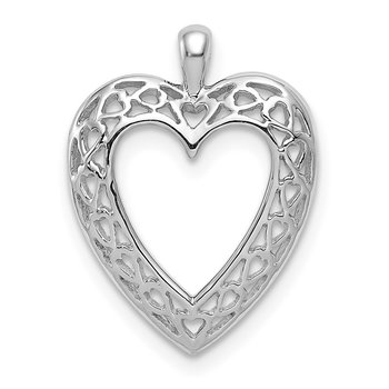 14K White Cut-Out Heart Pendant