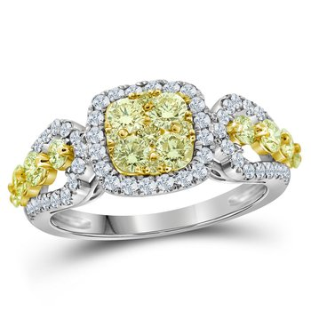 14kt White Gold Womens Round Canary Yellow Diamond Cluster Ring 1-1/3 Cttw
