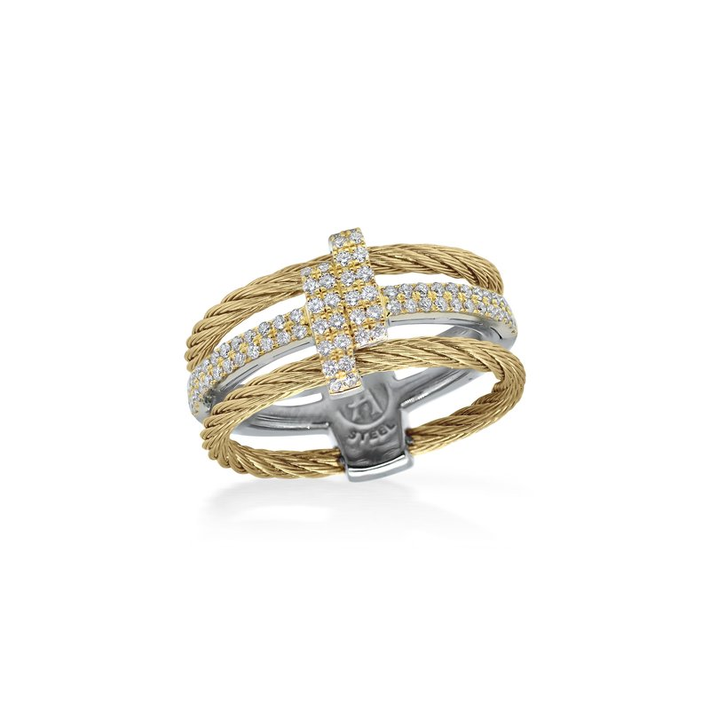 ALOR Yellow Dual Cable Opulence Ring with 18kt Yellow Gold & Diamonds