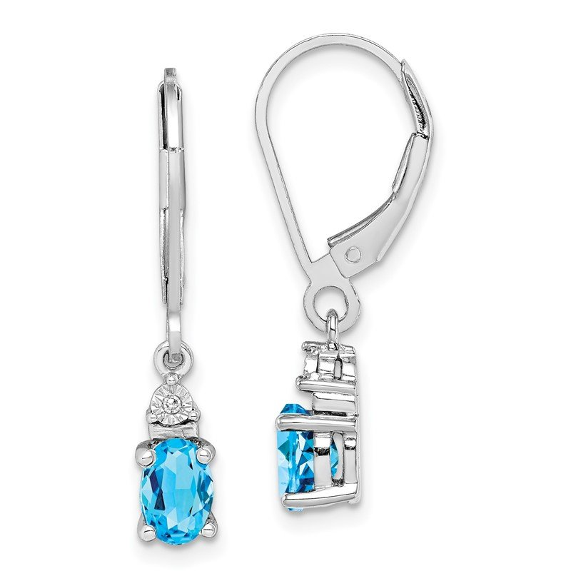 Quality Gold Sterling Silver Rhodium-plated Diamond & Light Blue Topaz Earrings