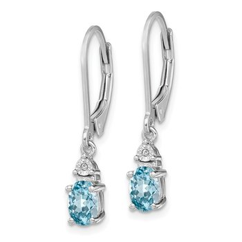 Sterling Silver Rhodium-plated Diamond & Light Blue Topaz Earrings