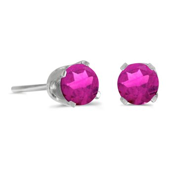 4 mm Round Pink Topaz Stud Earrings in 14k White Gold