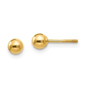 14k Madi K Polished 4mm Ball Screwback Earrings
