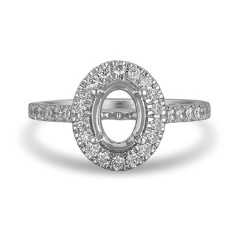 14K WG and diamond Engagement Ring with Oval Shape Halo and 8x6 MM Oval Center in Split Prong Setting
