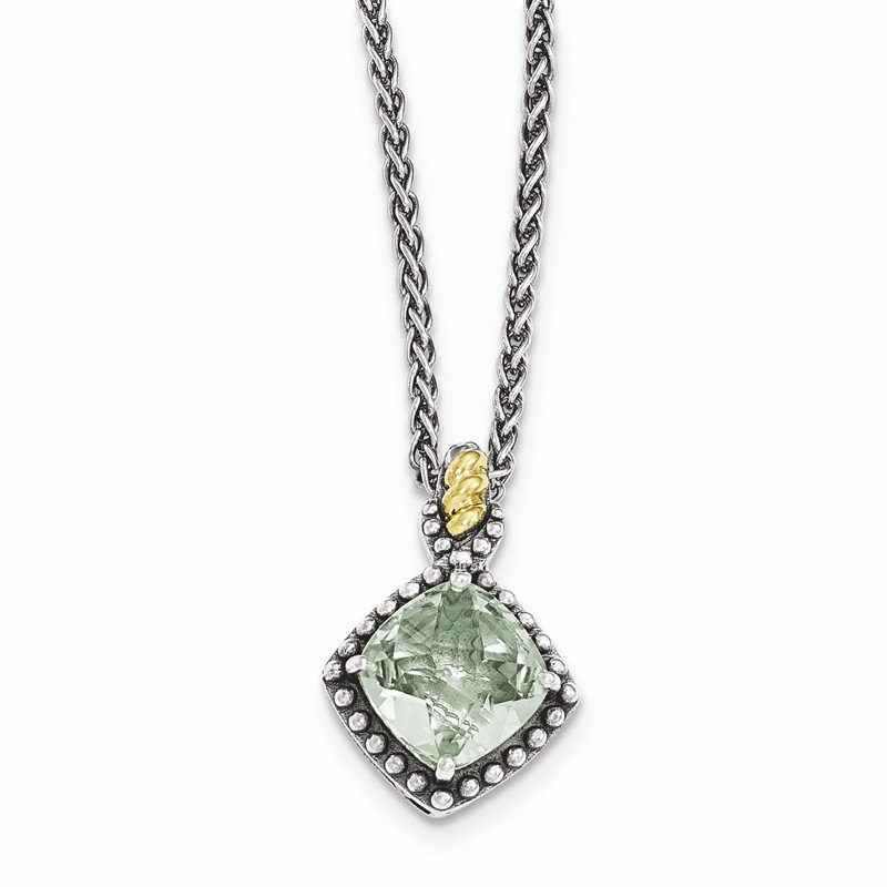 Shey Couture Sterling Silver w/14ky Green Quartz Cushion Necklace