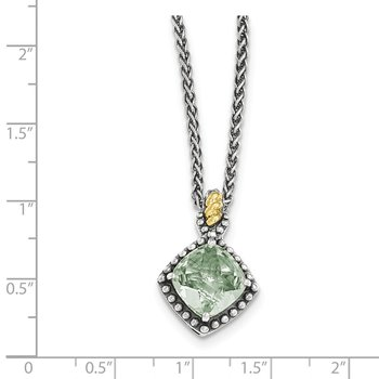 Sterling Silver w/14ky Green Quartz Cushion Necklace