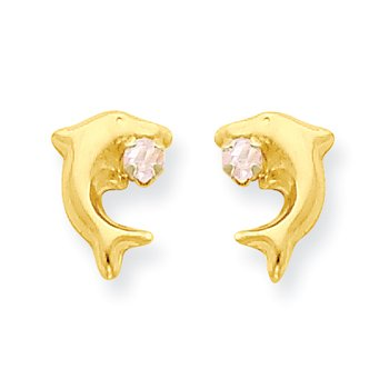 14k Madi K Dolphin w/Pink CZ Post Earrings