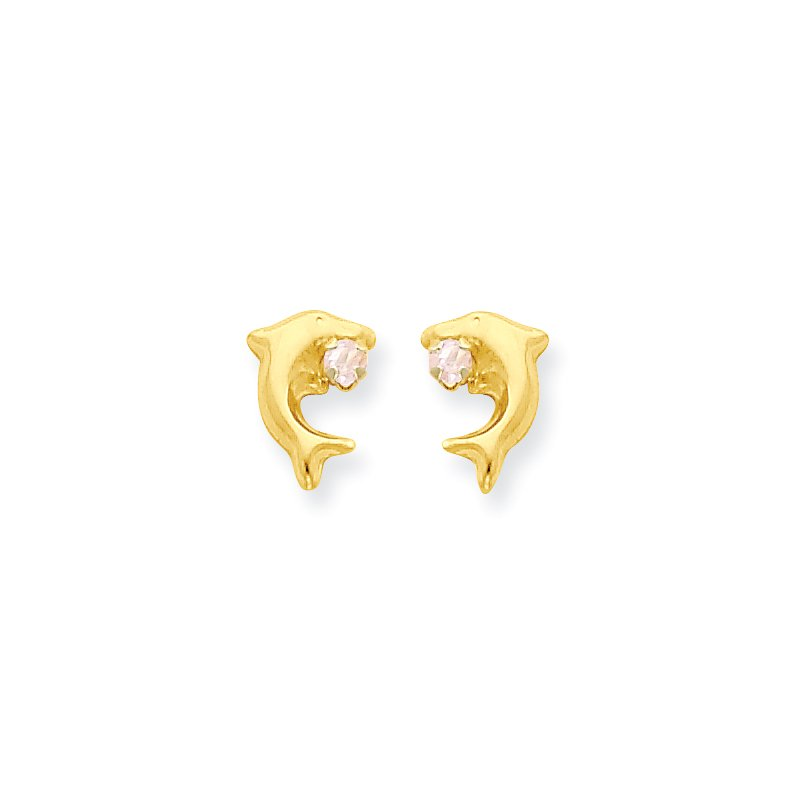 Quality Gold 14k Madi K Dolphin w/Pink CZ Post Earrings