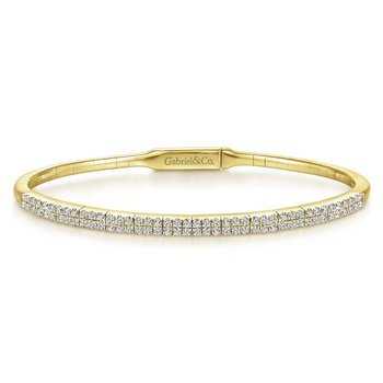 14K Yellow Gold Two Row Diamond Bangle