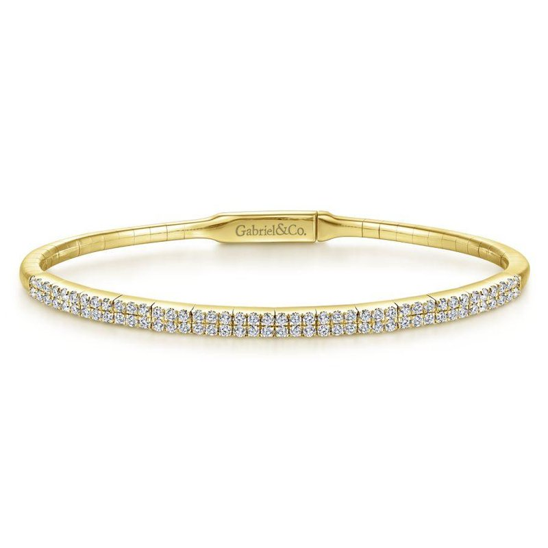Gabriel Fashion 14K Yellow Gold Two Row Diamond Bangle