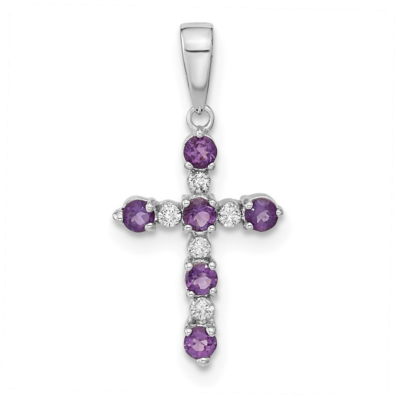 Quality Gold 14k White Gold Amethyst and Diamond Cross Pendant