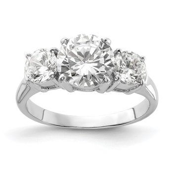 Sterling Silver Rhodium-plated Three Stone CZ Ring