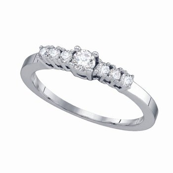 14kt White Gold Womens Round Diamond Round Bridal Wedding Engagement Ring 1/3 Cttw