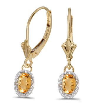 10k Yellow Gold Oval Citrine And Diamond Leverback Earrings