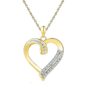 10kt Yellow Gold Womens Round Diamond Heart Pendant 1/10 Cttw