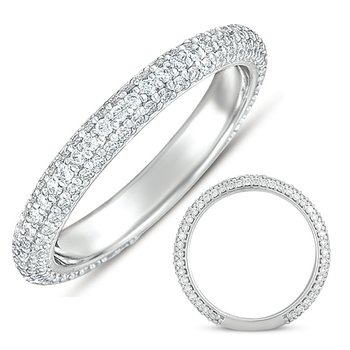 White Gold Pave Band (2.8mm Wide)