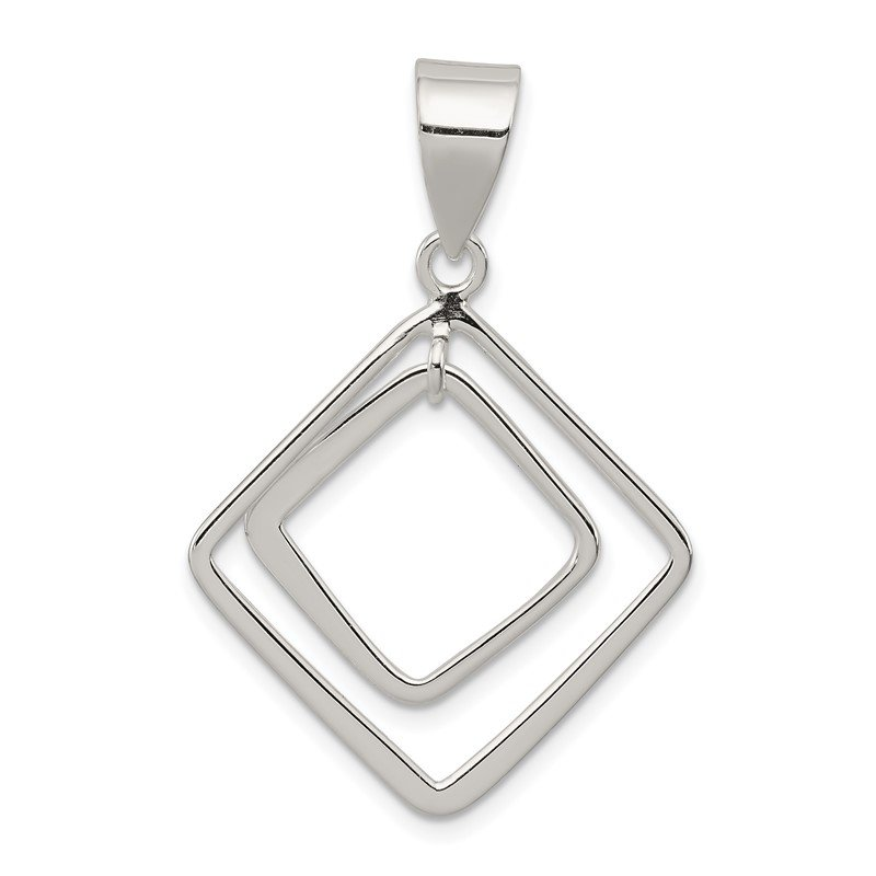 Quality Gold Sterling Silver Diamond Shape Pendant