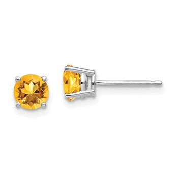 14k White Gold 5mm Citrine Earrings