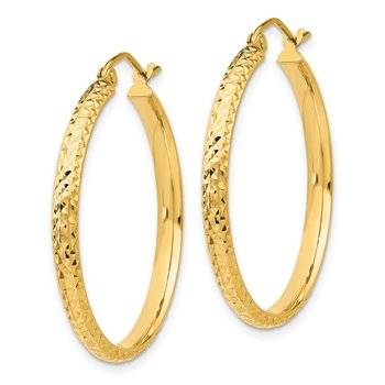 14K Diamond-cut 2.8x30mm Hollow Hoop Earrings