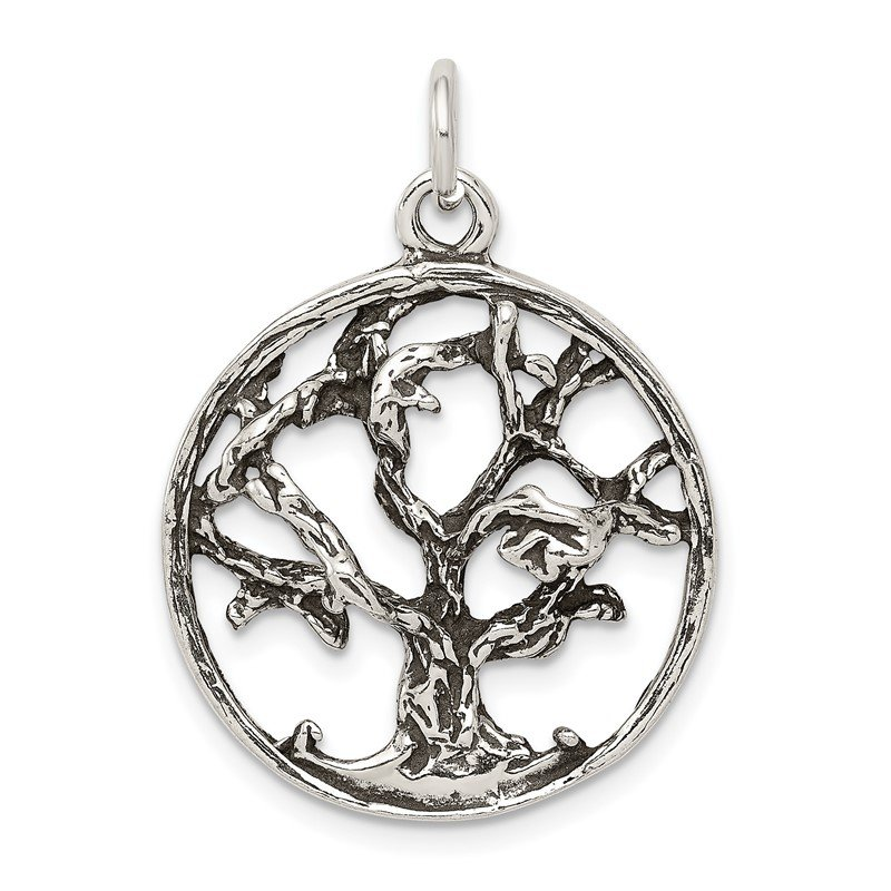 Quality Gold Sterling Silver Antiqued Tree Charm