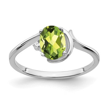 14k White Gold 7x5mm Oval Peridot AA Diamond ring