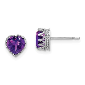 10k Tiara Collection White Gold Polished 6mm Heart Amethyst Earrings