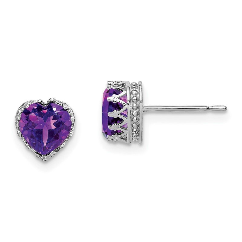 Quality Gold 10k Tiara Collection White Gold Polished 6mm Heart Amethyst Earrings