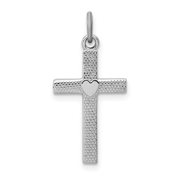 Sterling Silver Rhodium-plated Heart Cross Charm