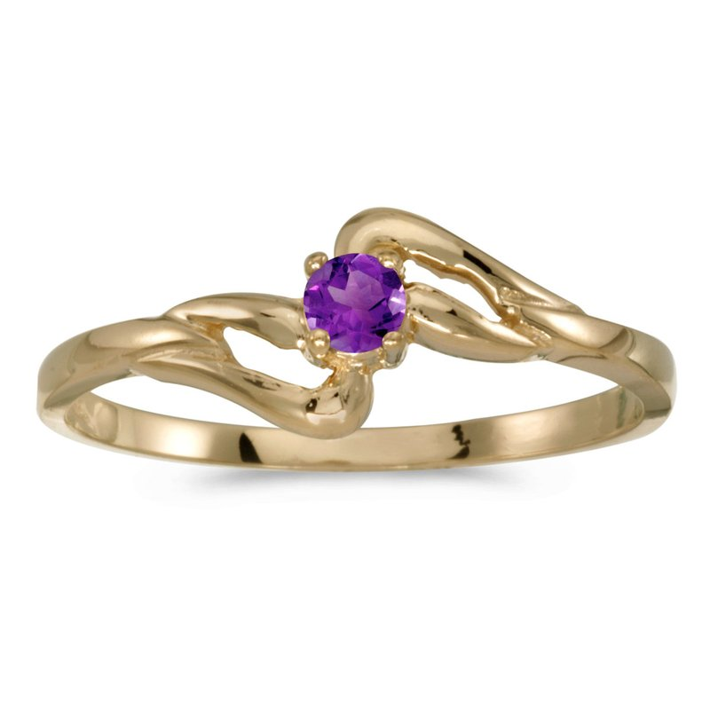 Color Merchants 14k Yellow Gold Round Amethyst Ring